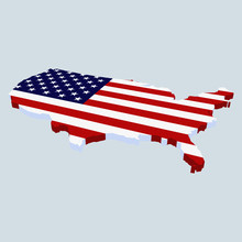 AMerican Flag In The Shape Of USA
