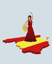 Stereotypical Spanish Woman Standing On Spanish Flag In The Shape Of Spain