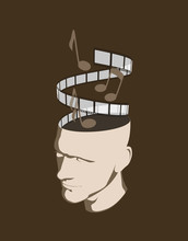 A Man With Musical Notes And A Film Strip