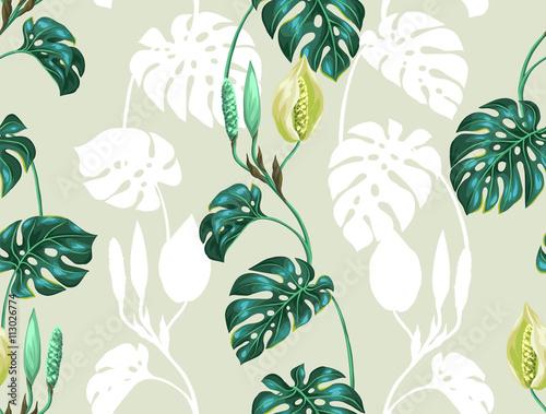 tropikalny-wzor-z-bialymi-i-zielonymi-liscmi-monstery-na-zielonym-tle