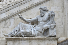 Ancient Marble Statue Of River Nile God With Sphinx, From Capitoline Hill Square, In The Center Of Rome