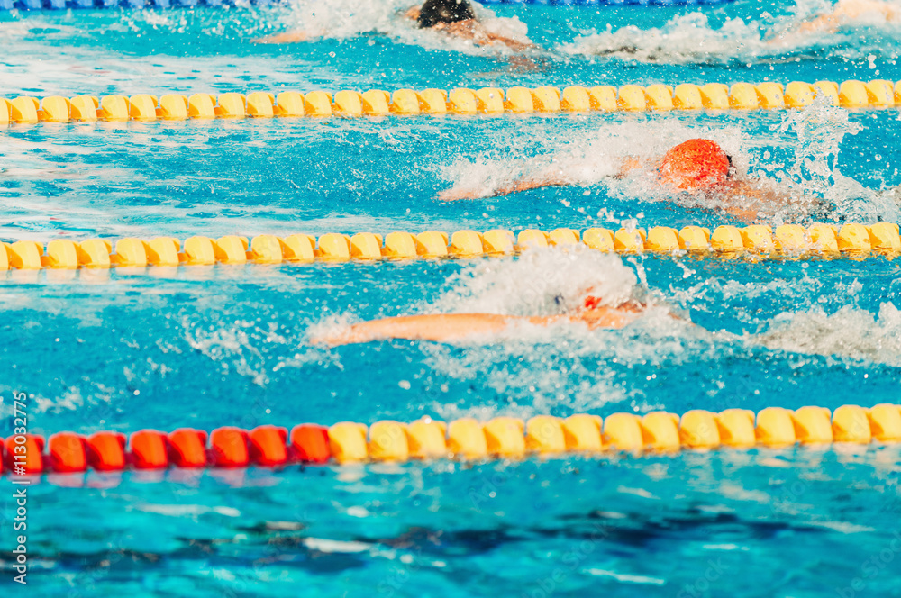 Photo  Swimming competition, freestyle race