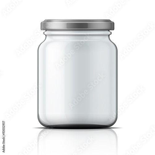 Empty glass jar with screw cap. Fotobehang