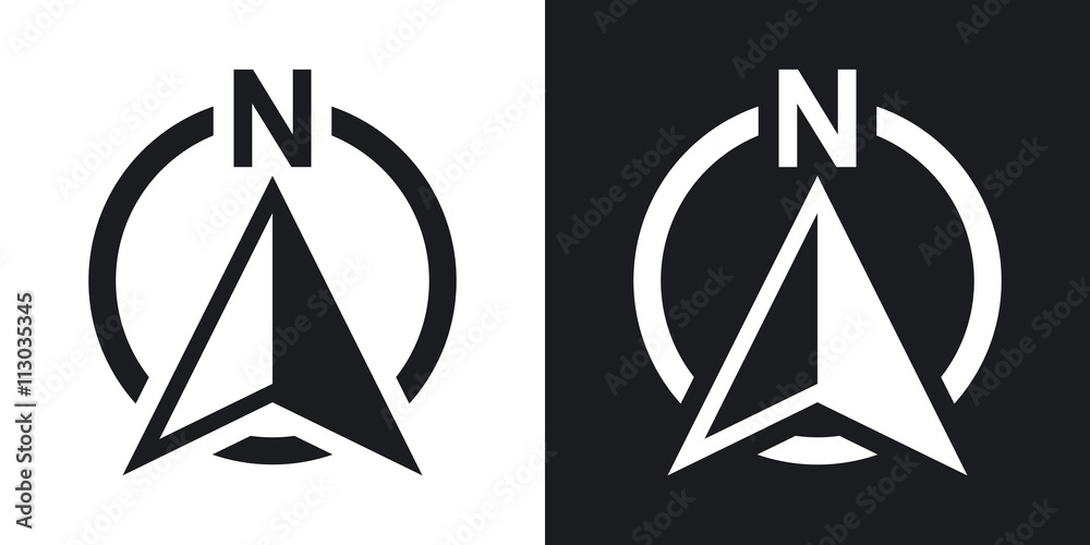Fototapety, obrazy: North direction compass icon, vector. Two-tone version on black and white background