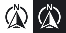 North Direction Compass Icon, Vector. Two-tone Version On Black And White Background