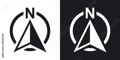 Fototapeta North direction compass icon, vector. Two-tone version on black and white background obraz
