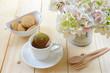 Hot lemon tea with oat cookies.