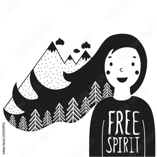 Valokuva Cute vector illustration with happy girl and mountains with pine forest in her hair