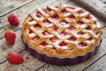 Baked Strawberry Pie Cake Sweet Pastry On Rustic Wooden Table Background