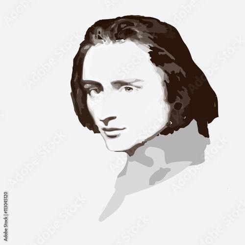 Fotografía  composer  Ferenc Liszt . vector portrait