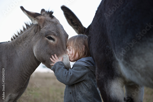 Side view of cute girl kissing donkey on field - Buy this