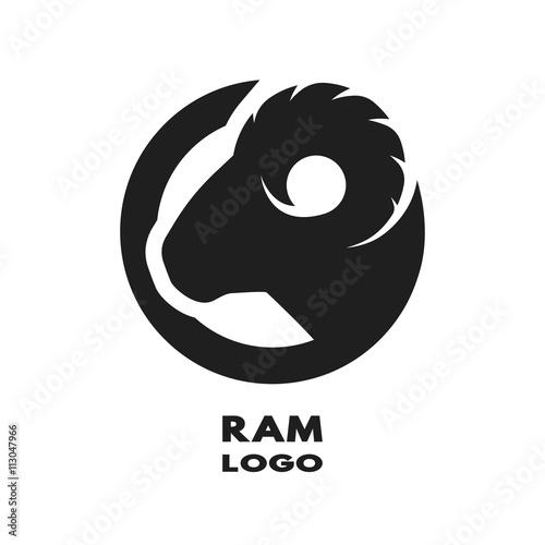 Silhouette of the ram, monochrome logo. Fototapet