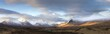 Panoramic view across Rannoch Moor on clear winter morning towards the snow-covered mountains of the Black Mount range, Rannoch Moor, near Fort William, Highland, Scotland, United Kingdom, Europe