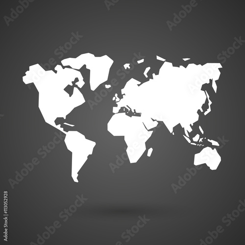 a world map    white icon on a dark  background