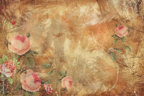 Poster Retro Vintage Background - Floral Old Paper Texture