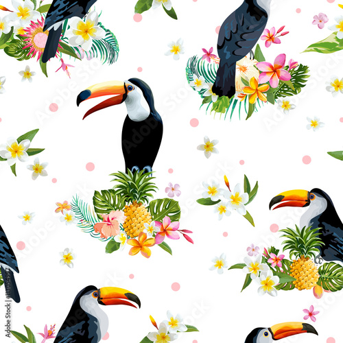 Foto  Toucan Bird. Tropical Flowers Background. Retro Seamless Pattern