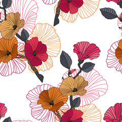 Fototapeta Seamless red, orange and black floral pattern. Color seamless floral pattern on white background. Dark branch with red, orange lavatera flowers, buds and contour. Vector illustration
