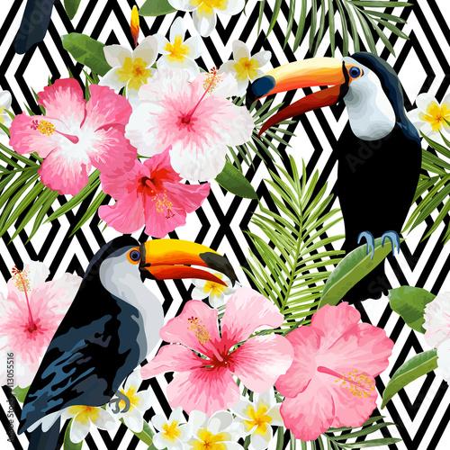 tropikalne-ptaki-i-kwiaty-geometryczne-vintage