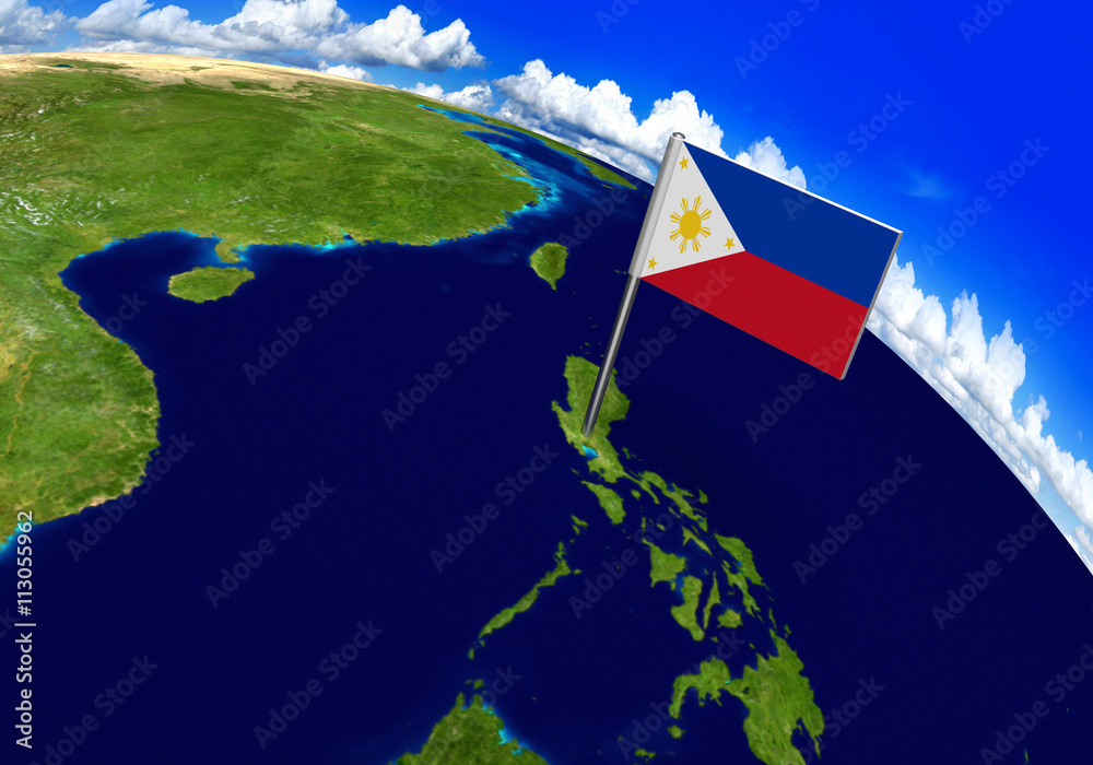 Flag marker over country of Philippines on world map 3D rendering ...