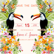 Save The Date. Wedding Card.  ...