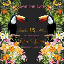 Tropical Flowers. Toucan Bird. Save The Date. Tropical Card. Tropical Card