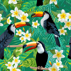 Tropical Flowers and Birds Background. Toucan Bird. Vintage Seamless Pattern