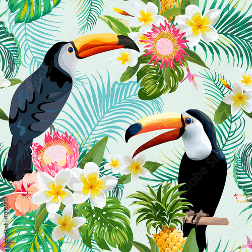 Tropical Flowers and Birds Background. Vintage Seamless Pattern. - 113055937