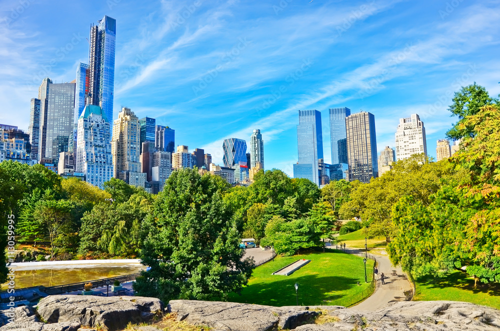 Fototapety, obrazy: View of Central Park in a sunny day in New York City.