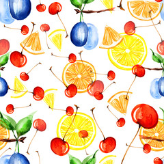 FototapetaPattern lemon, plum, cherry, berries, slices of lemon and orange watercolor