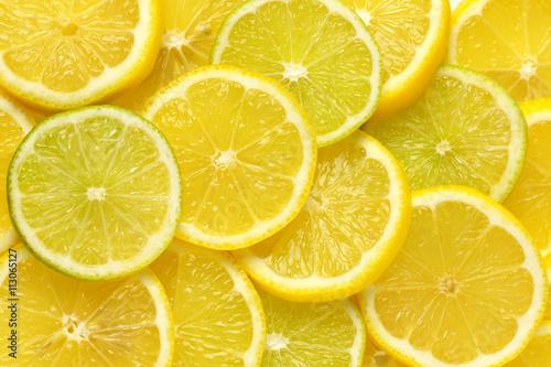 Spoed Foto op Canvas Plakjes fruit lemon and lime slices