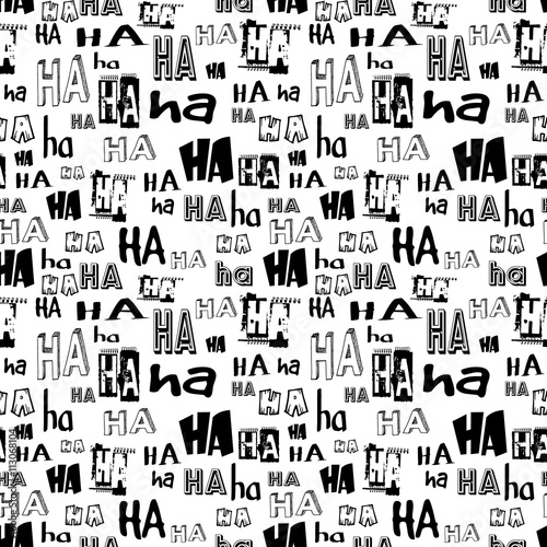 Valokuvatapetti HA HA laugh seamless pattern