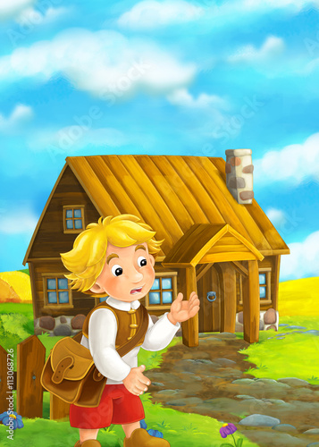 Aluminium Prints Wild West Beautifully colored scene with cartoon character - old man standing and talking or greeting someone - wooden house in the background - illustration for children