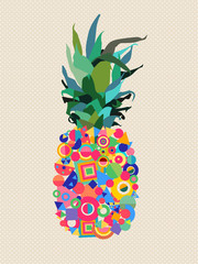 NaklejkaSummer pineapple design with modern color shapes