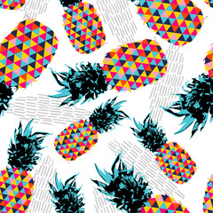 Panel Szklany Owoce Summer seamless pattern with color retro pineapple