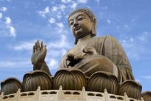 The Giant Bronze Tian Tan Buddha Statue Sits On A Lotus Throne