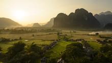 Laos, Vang Vieng. Sunset View From Hot Air Balloon.