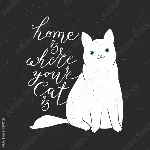 Photo  Cute cat character and quote.