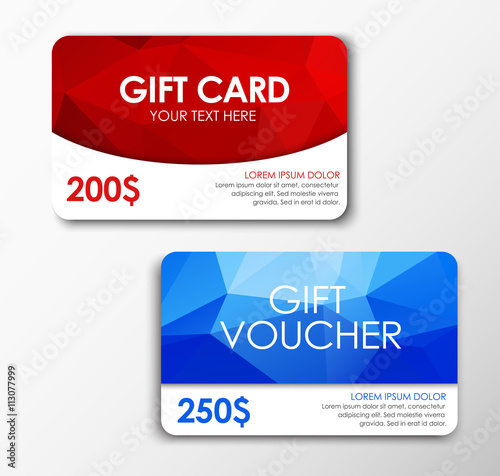 Fotografia  Polygonal gift card and voucher