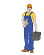 young man working. builder. in overalls and tools. vector illustration.