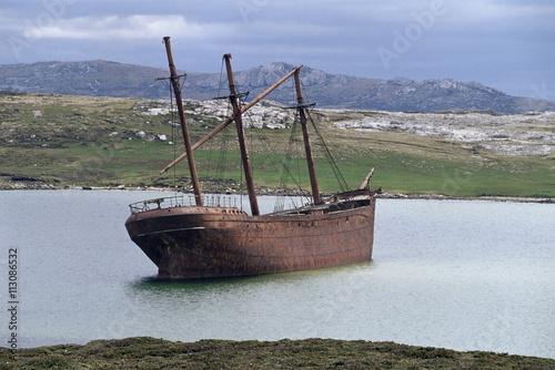 Shipwreck The wreck of the Lady Elizabeth, Stanley, East Falkland, Falkland Islands, South Atlantic, South America