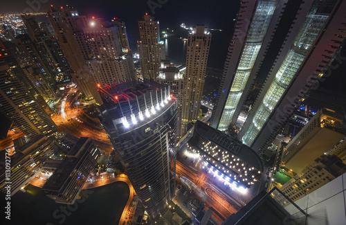 Photo  Dubai Marina at night