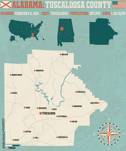 Photo  Large and detailed map and infos about Tuscaloosa County in Alabama