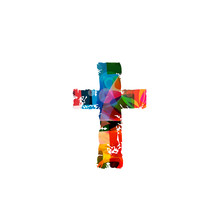 Vector Illustration Of Colorful Cross Isolated On White Background