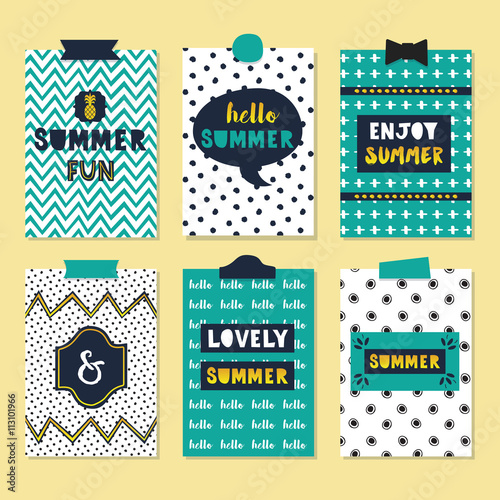 Cute Assorted Summer Quotes Journal Cards Set On Trendy Patterns