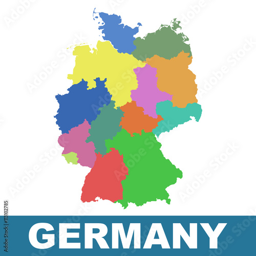 Germany map with federal states. Flat vector – kaufen Sie diese ...