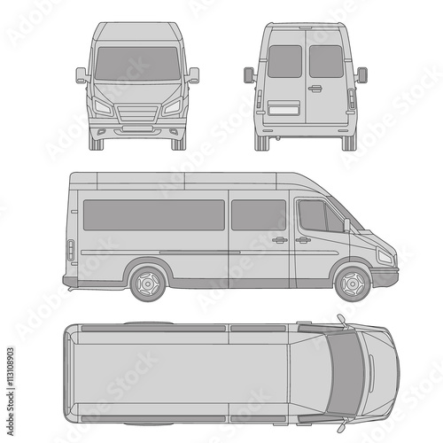 car template. commercial vehicle - delivery van. Blueprint, drawing ...