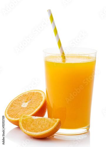 Poster Sap Glass of fresh orange juice