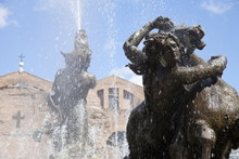 The Fountain Of The Naiads In The Piazza Della Repubblica And St. Mary Of The Angels And Of The Martyrs Church And Diocletian Baths In The Background, Rome, Lazio