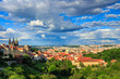 View over historic center of Prague with castle and St Vitus Cathedral, Czech Republic