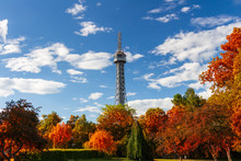 The Petrin Observation And Communication Tower In Prague With Red Foliage, Czech Republic